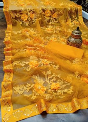 Fancy Embroidered Work Yellow Net Saree
