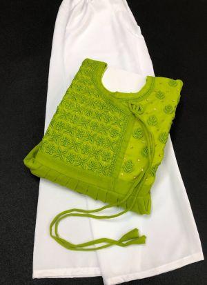 Fancy Lime Green Georgette Suit