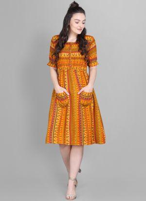 Fancy Mill Print Heavy Rayon Yellow Front Pocket Dress