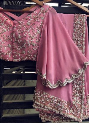 Fancy Pink Georgette Embroidery Saree