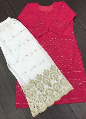 Fancy Thread Work Pc Cotton Palazzo Suit