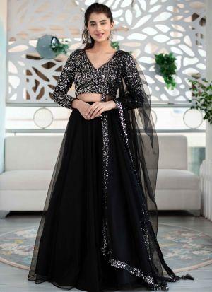 Fashion Wear Black Mono Net Party Wear Lehenga Choli