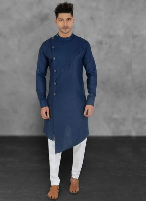 Fashionable Blue Cotton Kurta Pajama
