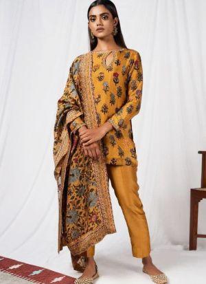 Fashionable Mustard Yellow Digital Printed Salwar Suit