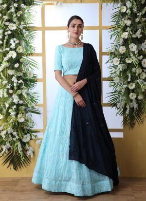 Fashionable Sky Blue Georgette Lehenga Choli