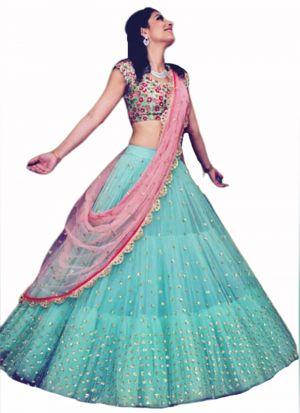 Fashionable Turquoise Blue Net Thread Embroidered Lehenga Choli
