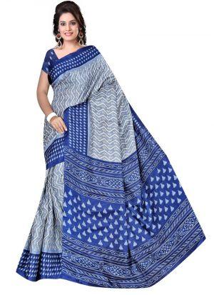Festival Wear Multi Color Printed Rice Silk Saree