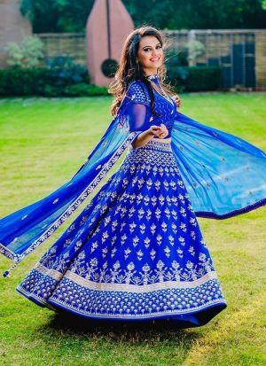 Festive Wear Blue Taffeta Silk Lehenga