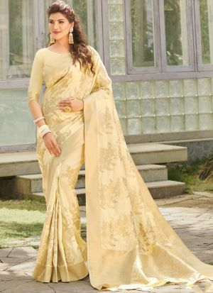 Festive Wear Cream Kanjivaram Silk Saree
