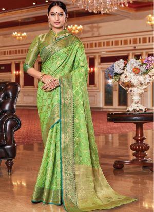 Festive Wear Light Green Saree