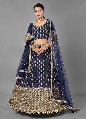 Festive Wear Navy Blue Lehenga Choli