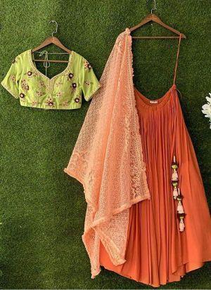 Festive Wear Orange Thread Work Lehenga Choli