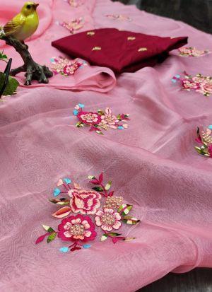 Festive Wear Pink Heavy Organza Embroidered Saree