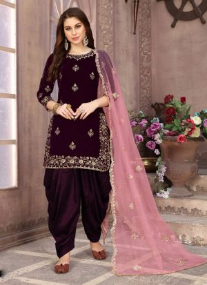 Festive Wear Purple Velvet Embroidered Salwar Suit