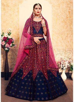 Festive Wear Satin Royal Blue Designer Lehenga Choli