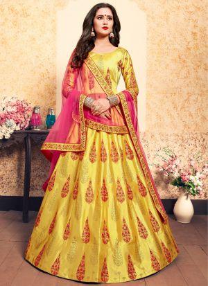 Festive Wear Satin Yellow Designer Lehenga Choli