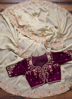 Flawless Cream Thread Work Georgette Saree