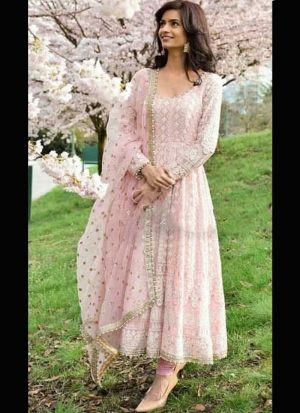 Flawless Light Pink Georgette Embroidery Suit