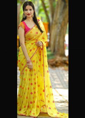 Flawless Yellow Sana Silk Printed Saree