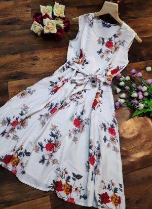 Floral Print White Colour Digital Print Knee Length Dress