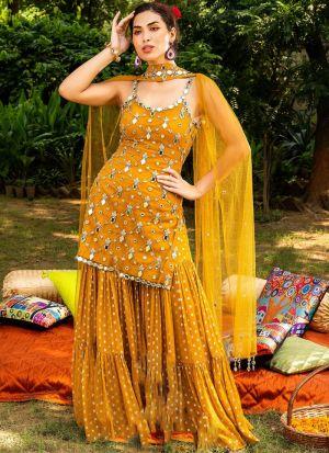 Foil Mirror Work Mustard Salwar Suit