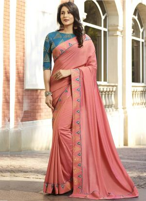 Freshly Updated Peach Vichitra Silk Saree With Contrasting Blouse