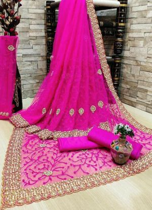 Fuschia Pink Banglori Silk Embroidered Saree