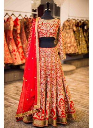 Fuzzy Peach Banglori Silk Indian Latest Bridal Lehenga Design With Moss Chinon Dupatta