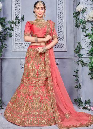 Gajari Color Designer Lehenga Choli For Wedding