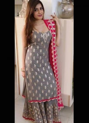 Georgette Embroidery Palazzo Suit In Grey