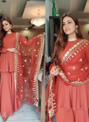 Georgette Palazzo Suit With Heavy Dupatta