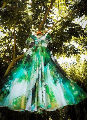 Georgette Printed Multi Colored Dress