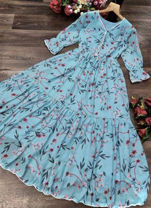 Georgette Printed Sky Blue Dress