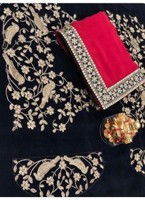 Georgette Red Designer Traditional Saree