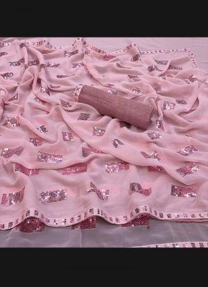 Georgette Silk Baby Pink Saree