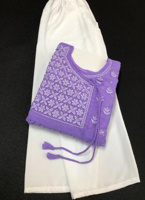 Georgette Thread Work Lavender Suit