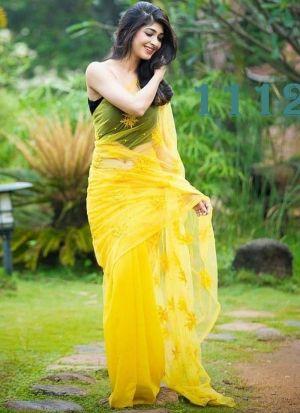 Glamorous Lime Yellow Georgette Saree