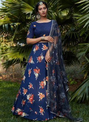 Glamorous Navy Blue Crepe Silk Lehenga Choli