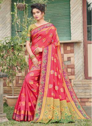 Glamorous Salmon Pink Banarasi Silk Party Wear Saree