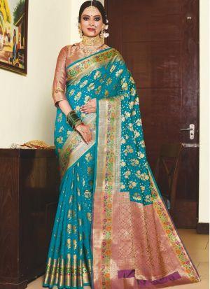 Glamorous Sky Blue Silk Party Wear Saree