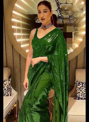 Glitzy Green Georgette Sequence Saree