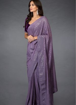 Glorious Purple Georgette Sequence Work Fancy Saree