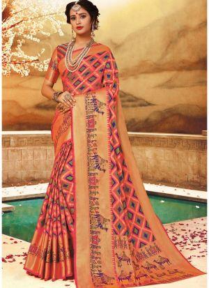 Glorious Self Design Pure Handloom Silk Multi Color Indian Saree