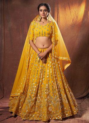 Glorious Yellow Resham Mirror Work Lehenga