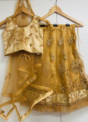 Golden Net Cording Work New Fashion Kids Lehenga Choli