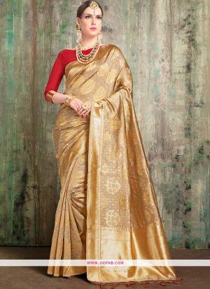Golden Wedding Wear Indian Designer Saree With Blouse Piece