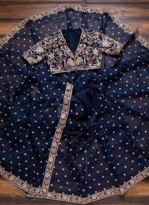 Good Looking Denim Blue Organza Silk Saree