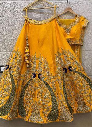 Gorgeous Embroidered Mustard Yellow Silk Lehenga Choli