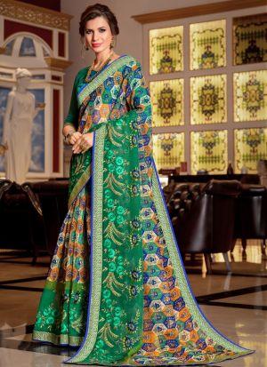 Gorgeous Green Kota Saree With Blouse