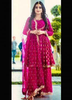 Gorgeous Magenta Pink Crepe Palazzo Suit